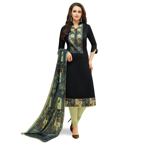 Capricious Black Colored Casual Printed Cotton Suit