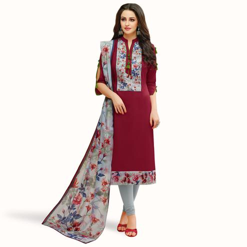 Entrancing Maroon Colored Casual Printed Cotton Suit