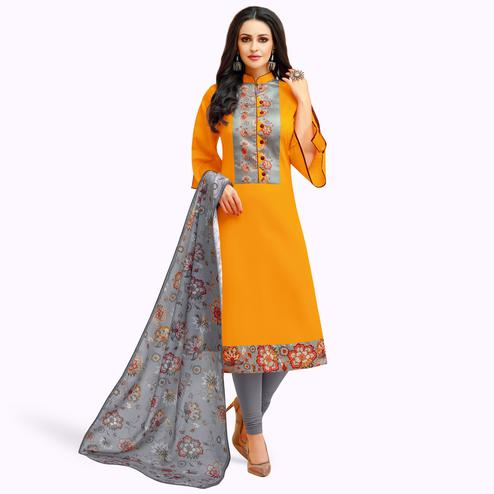 Groovy Mustard Yellow Colored Casual Printed Cotton Suit