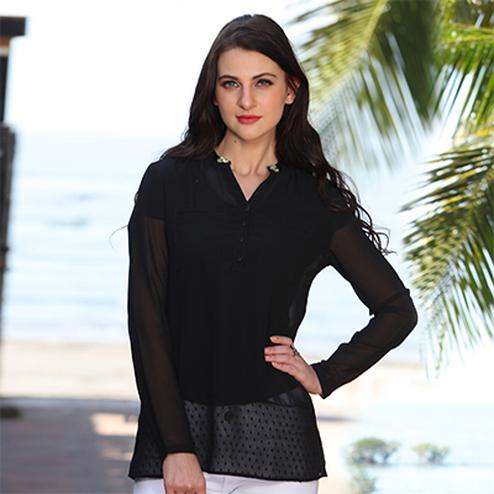 Smart Black Casual Top