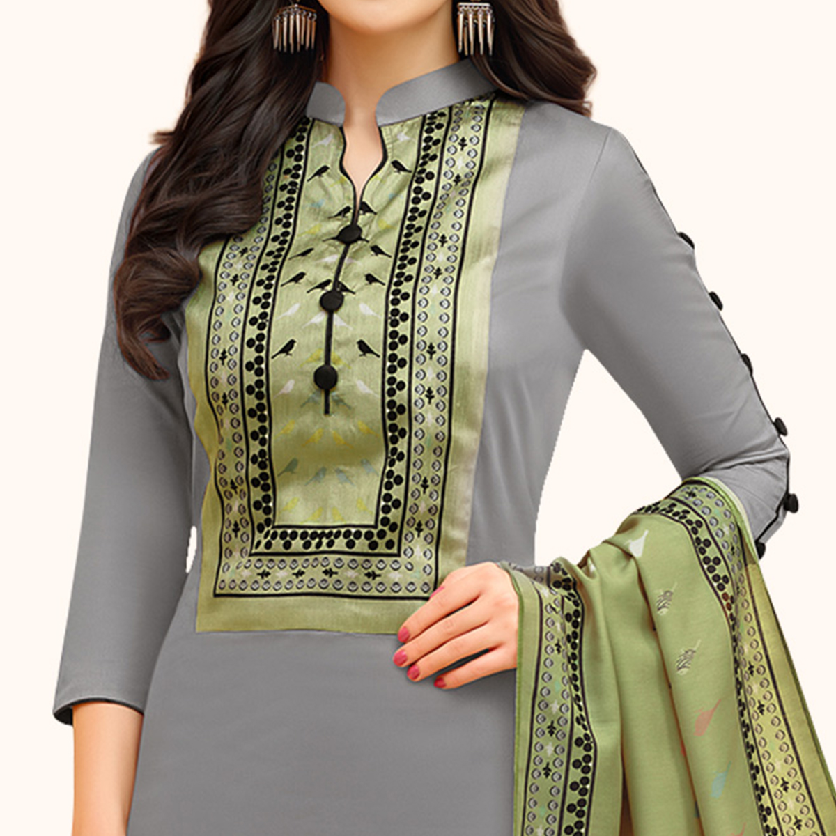 Prominent Gray Colored Casual Printed Cotton Suit