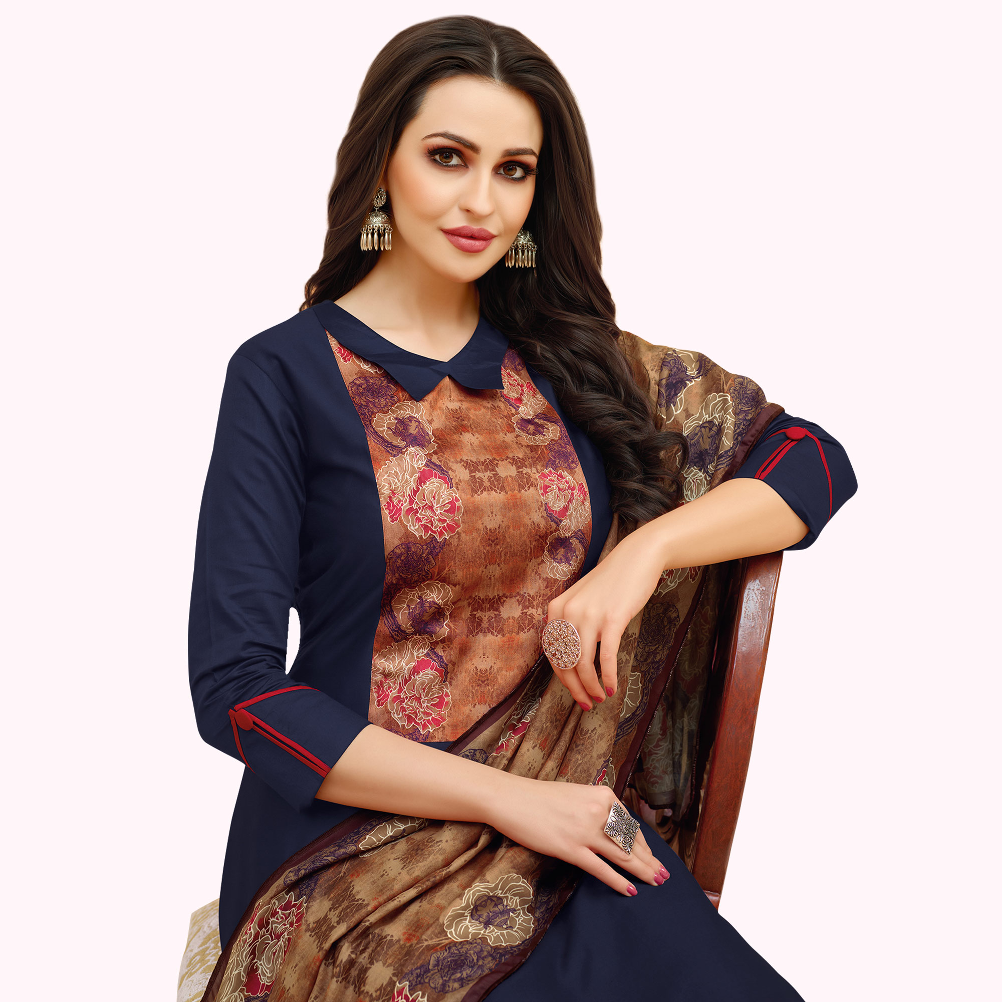 Exotic Navy Blue Colored Casual Printed Cotton Suit