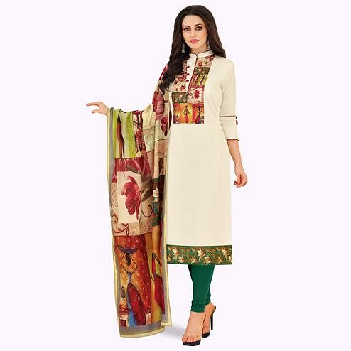Classy Off White Colored Casual Printed Cotton Suit