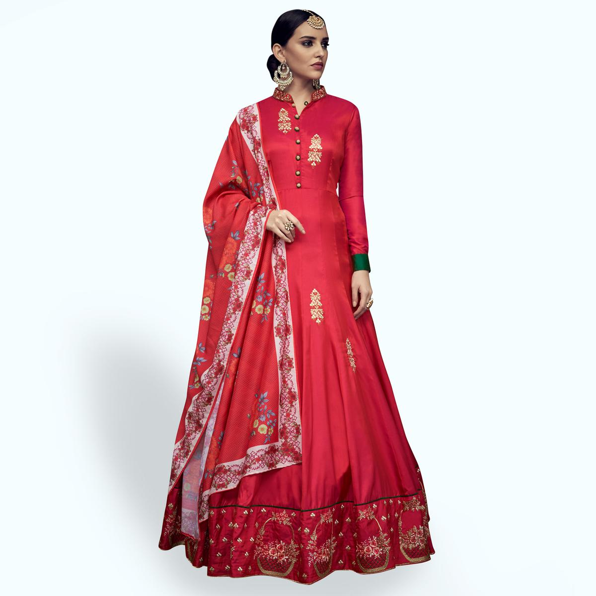 Marvellous Red Colored Partywear Embroidered Tapeta Silk Anarkali Suit