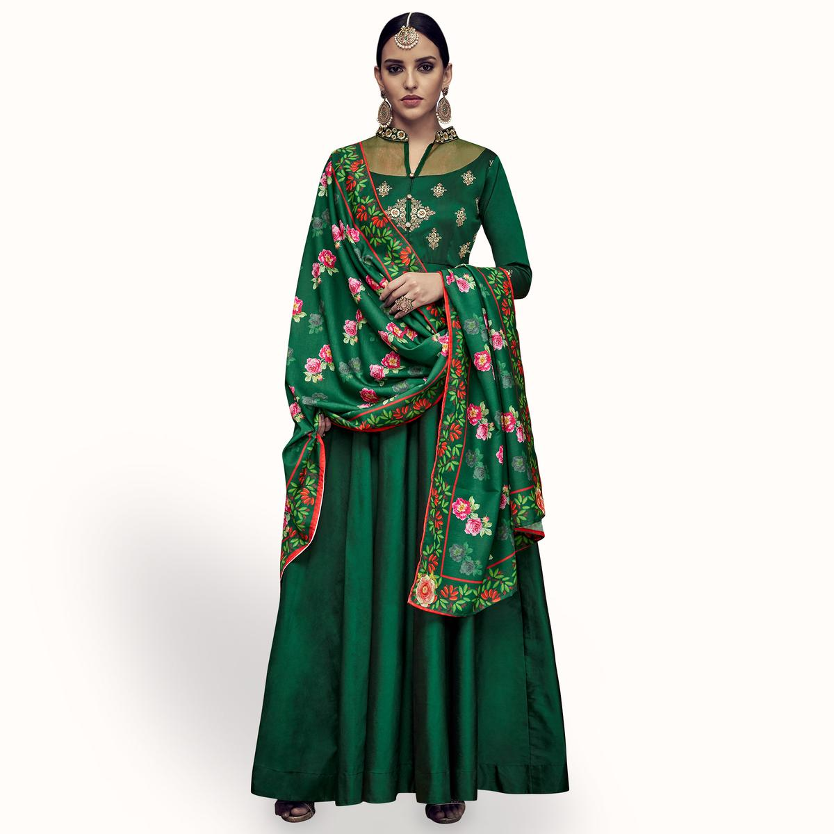 Fantastic Dark Green Colored Partywear Embroidered Tapeta Silk Anarkali Suit