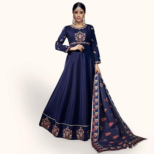 Sophisticated Navy Blue Colored Partywear Embroidered Tapeta Silk Anarkali Suit