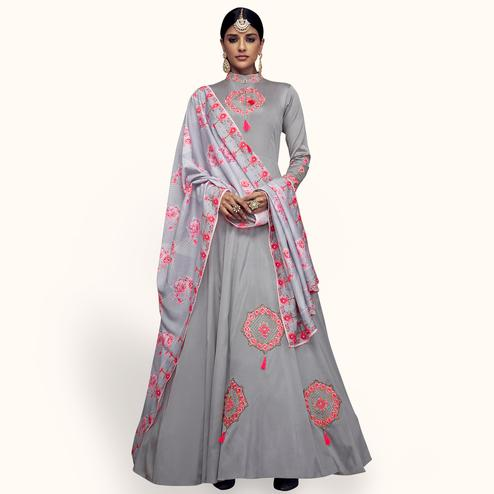 Impressive Gray Colored Partywear Embroidered Tapeta Silk Anarkali Suit