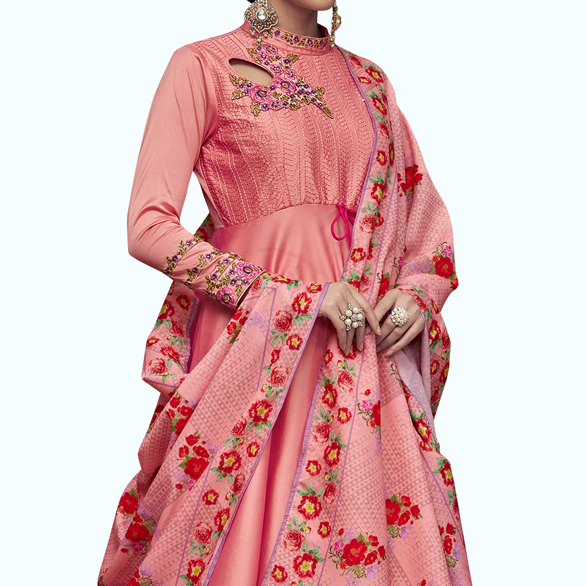Alluring Peach Colored Partywear Embroidered Tapeta Silk Anarkali Suit