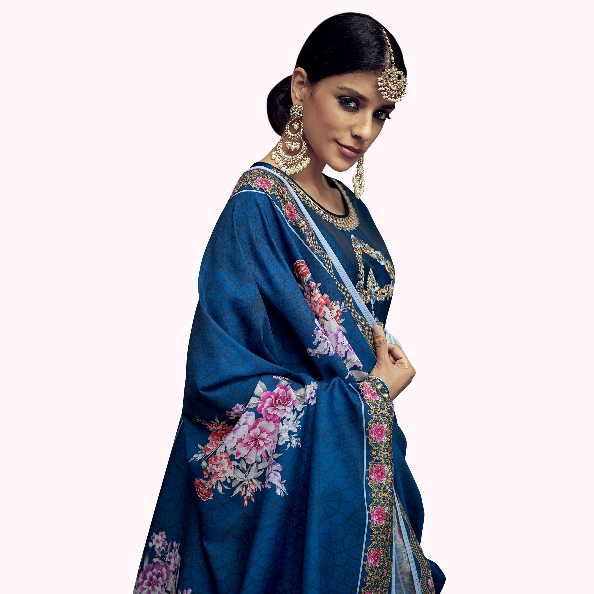 Amazing Blue Colored Partywear Embroidered Tapeta Silk Anarkali Suit