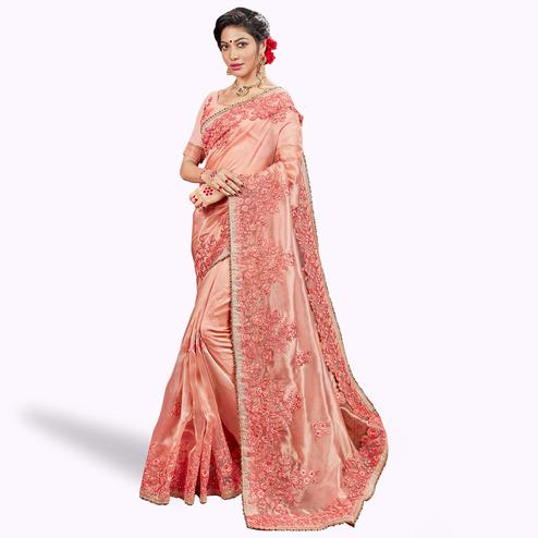 Mesmerising Peach Colored Party Wear Embroidered Tissue Saree
