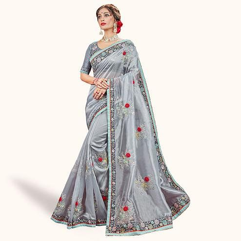 Pleasance Gray Colored Party Wear Embroidered Tissue Saree