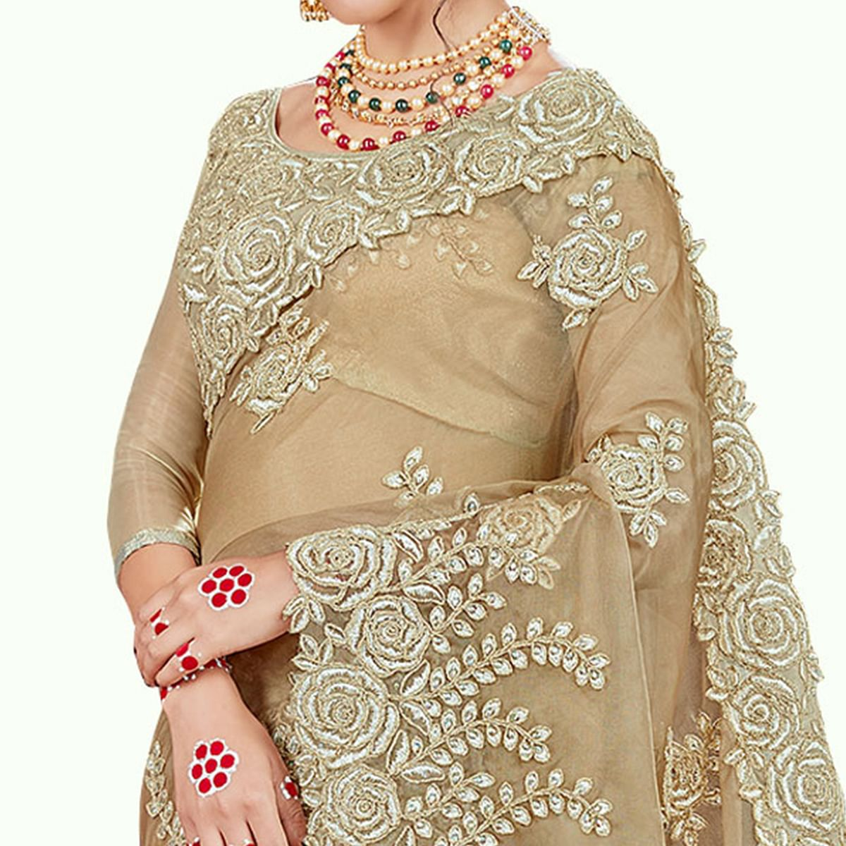 Breathtaking Chiku Colored Party Wear Embroidered Tissue Saree