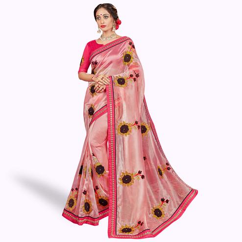 Ethnic Pink Colored Party Wear Embroidered Tissue Saree