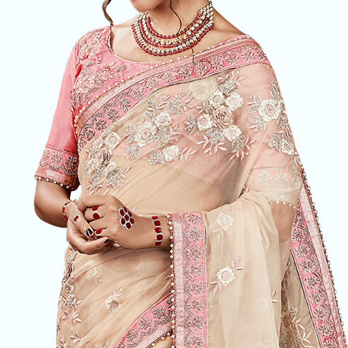 Ravishing Cream Colored Party Wear Embroidered Tissue Saree
