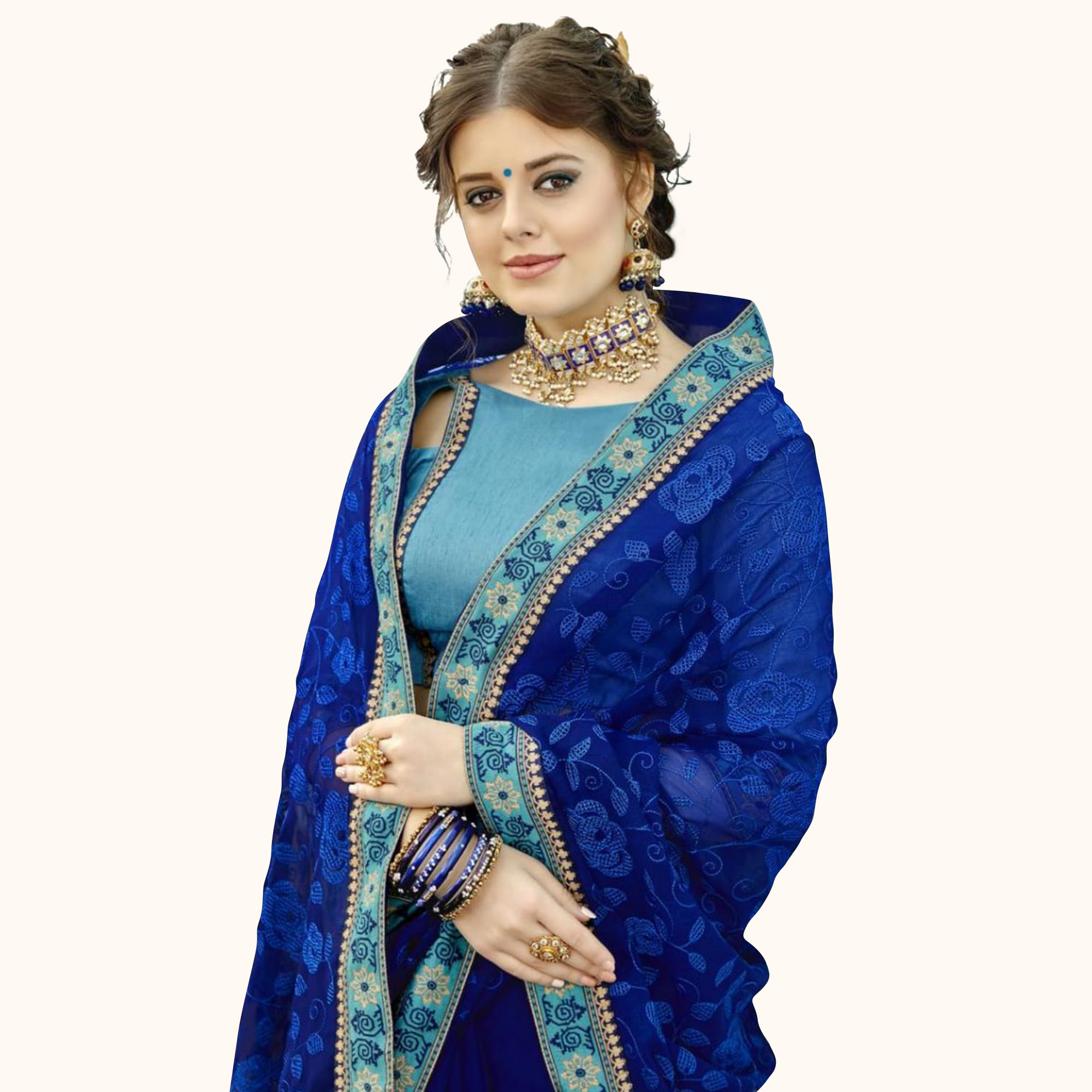 Blissful Blue Colored Partywear Embroidered Chiffon Saree