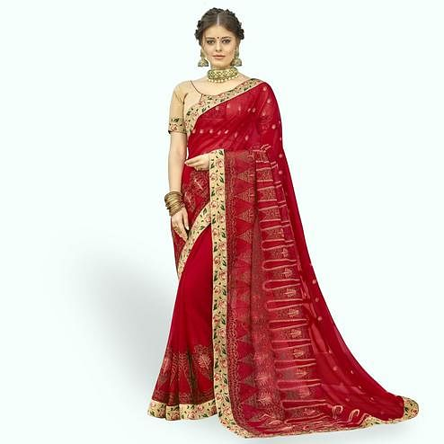 Ideal Red Colored Partywear Embroidered Chiffon Saree