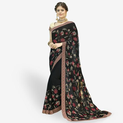 Imposing Black Colored Partywear Embroidered Chiffon Saree