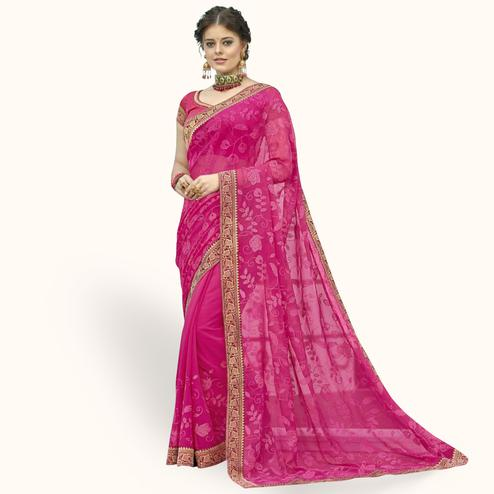 Lovely Pink Colored Partywear Embroidered Chiffon Saree