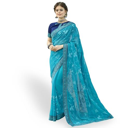 Impressive Sky Blue Colored Partywear Embroidered Chiffon Saree
