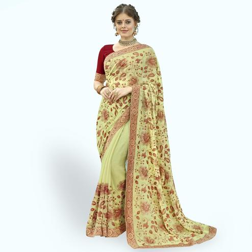 Mesmerising Yellow Colored Partywear Embroidered Chiffon Saree