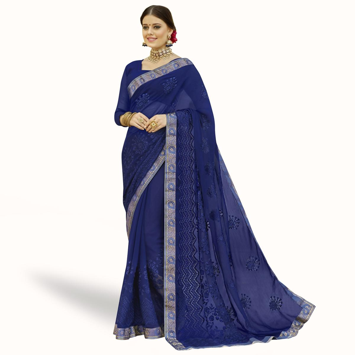 Engrossing Blue Colored Partywear Embroidered Chiffon Saree