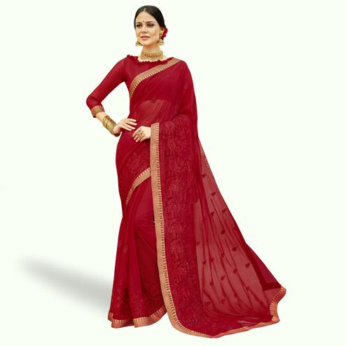 Captivating Red Colored Partywear Embroidered Chiffon Saree