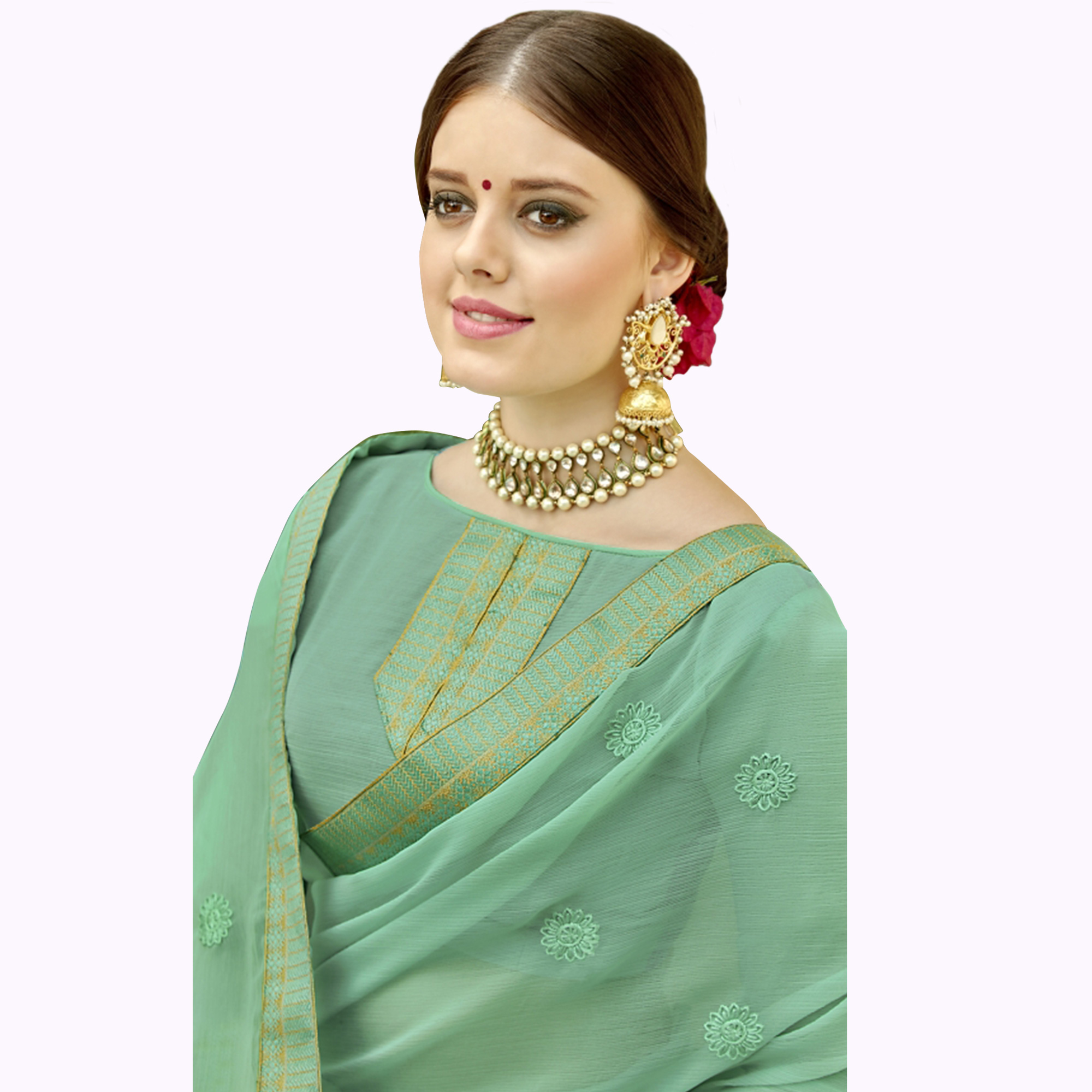 Fantastic Pastel Green Colored Partywear Embroidered Chiffon Saree