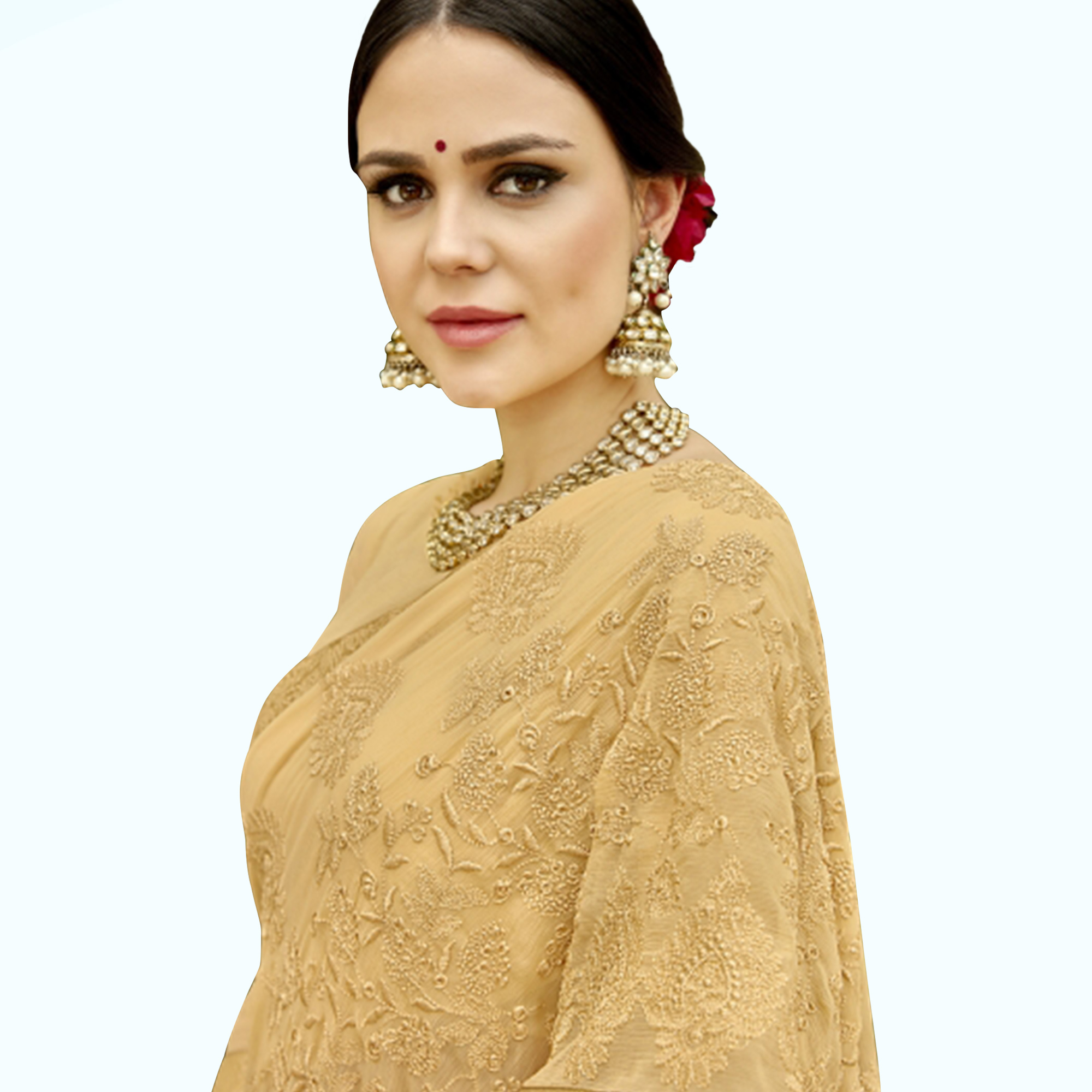 Amazing Light Yellow Colored Partywear Embroidered Chiffon Saree