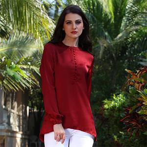Smart Red Casual Top