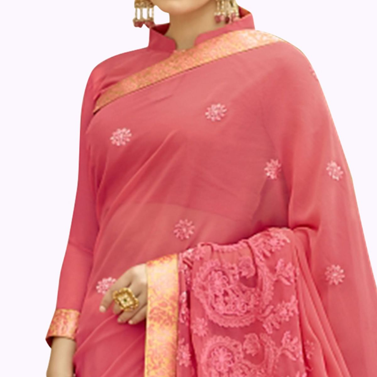 Gorgeous Pink Colored Partywear Embroidered Chiffon Saree