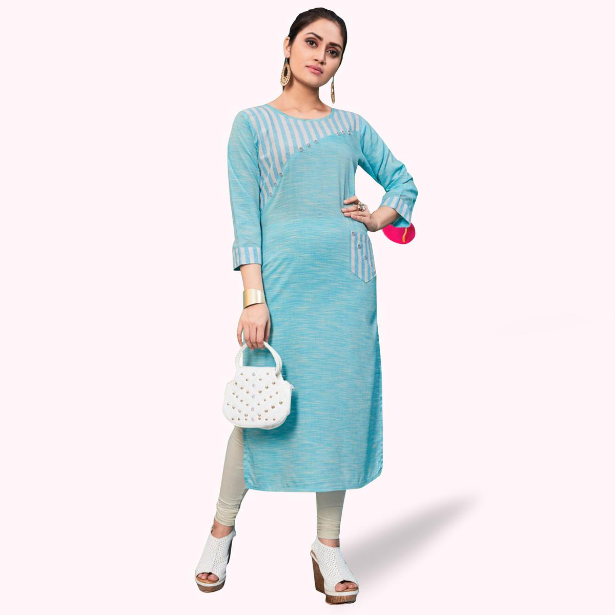 Ravishing Sky Blue Colored Casual Wear Printed Khadi-Rayon Kurti
