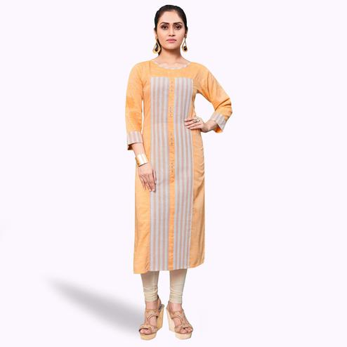Dazzling Peach Colored Casual Wear Printed Khadi-Rayon Kurti
