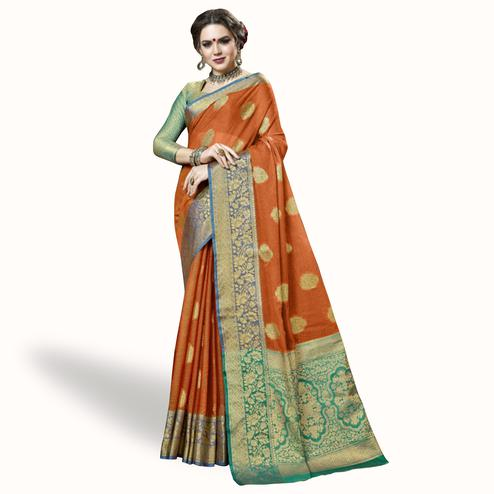 Flattering Orange Colored Festive Wear Woven Cotton Silk Saree