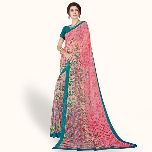 Magnetic Pink Colored Casual Wear Printed Chiffon Saree