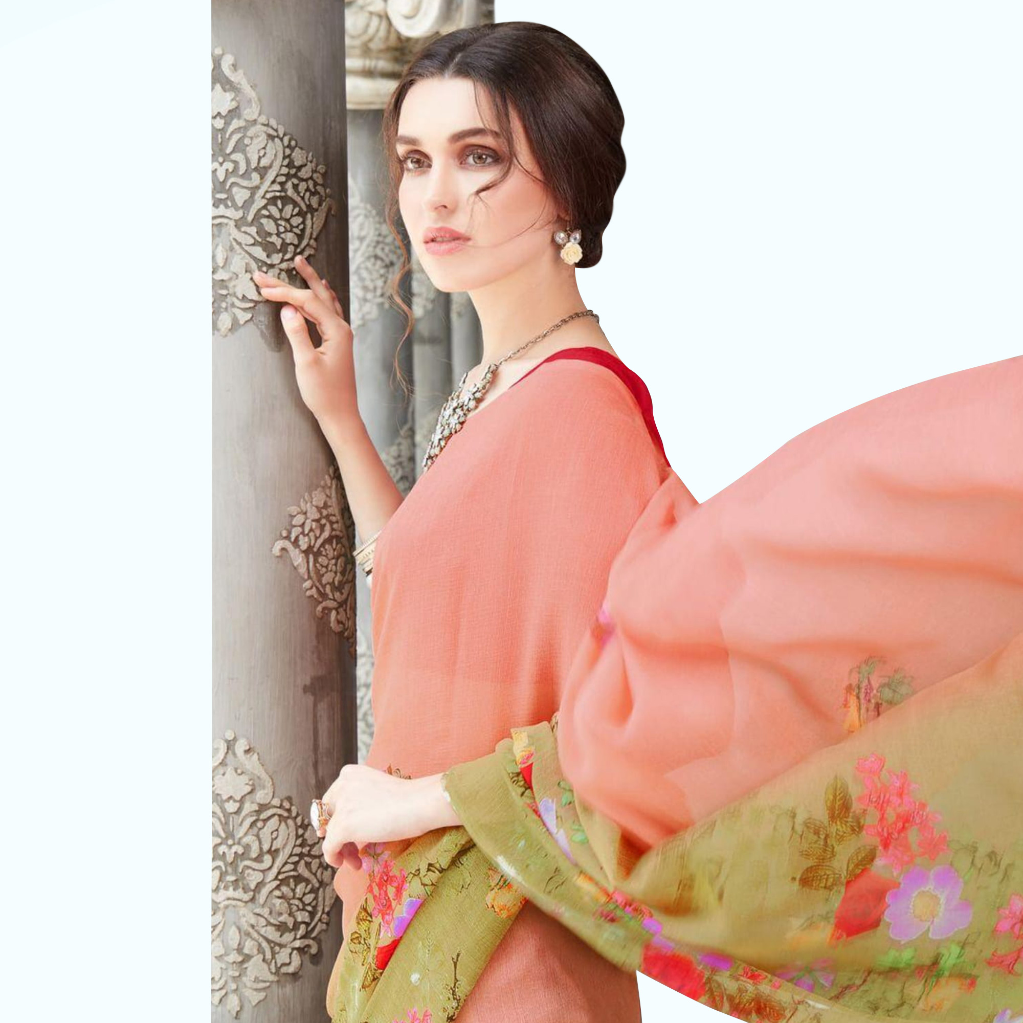 Hypnotic Peach Colored Casual Wear Printed Chiffon Saree