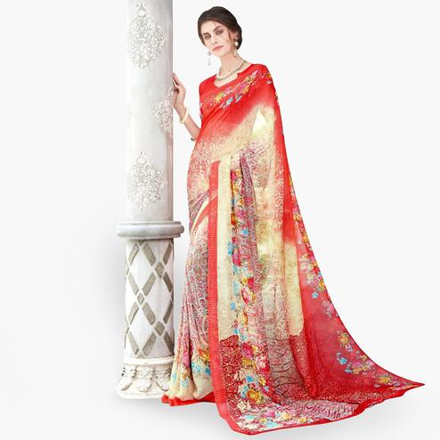 Excellent Red - Cream Colored Casual Wear Printed Chiffon Saree