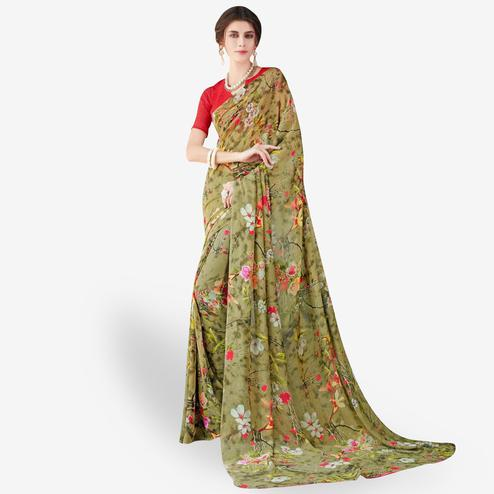 Preferable Olive Green Colored Casual Wear Printed Chiffon Saree