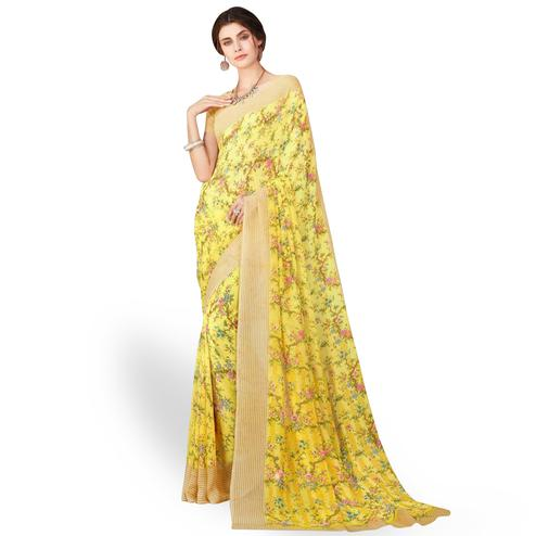 Marvellous Yellow Colored Casual Wear Printed Chiffon Saree
