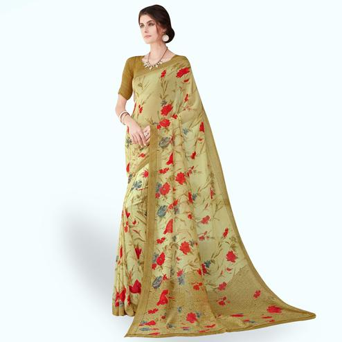 Pretty Light Mehendi Green Colored Casual Wear Printed Chiffon Saree