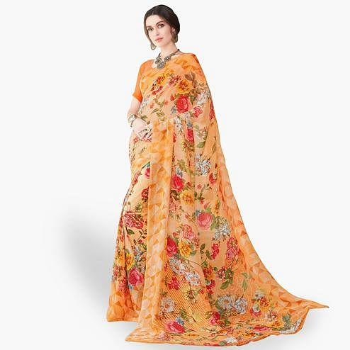 Alluring Orange Colored Casual Wear Printed Chiffon Saree