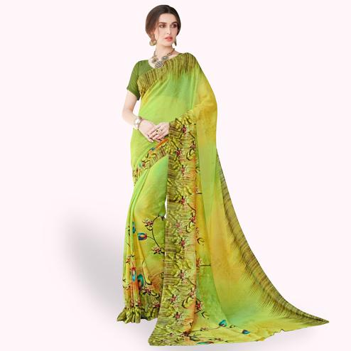 Sensational Lime Green Colored Casual Wear Printed Chiffon Saree