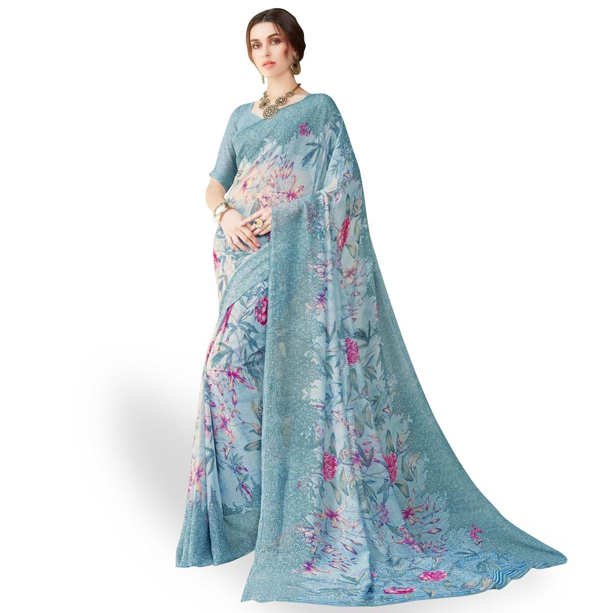 Flaunt Gray Colored Casual Wear Printed Chiffon Saree