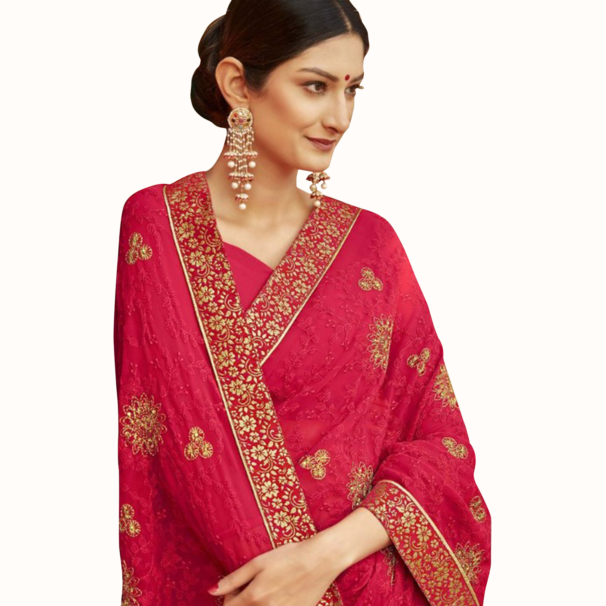Delightful Red Colored Party Wear Embroidered Georgette Saree