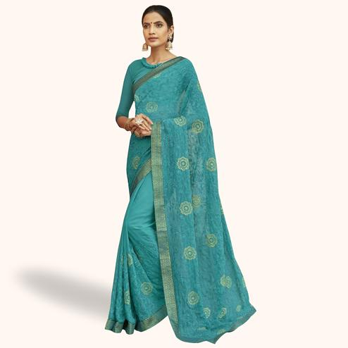 Engrossing Sky Blue Colored Party Wear Embroidered Georgette Saree