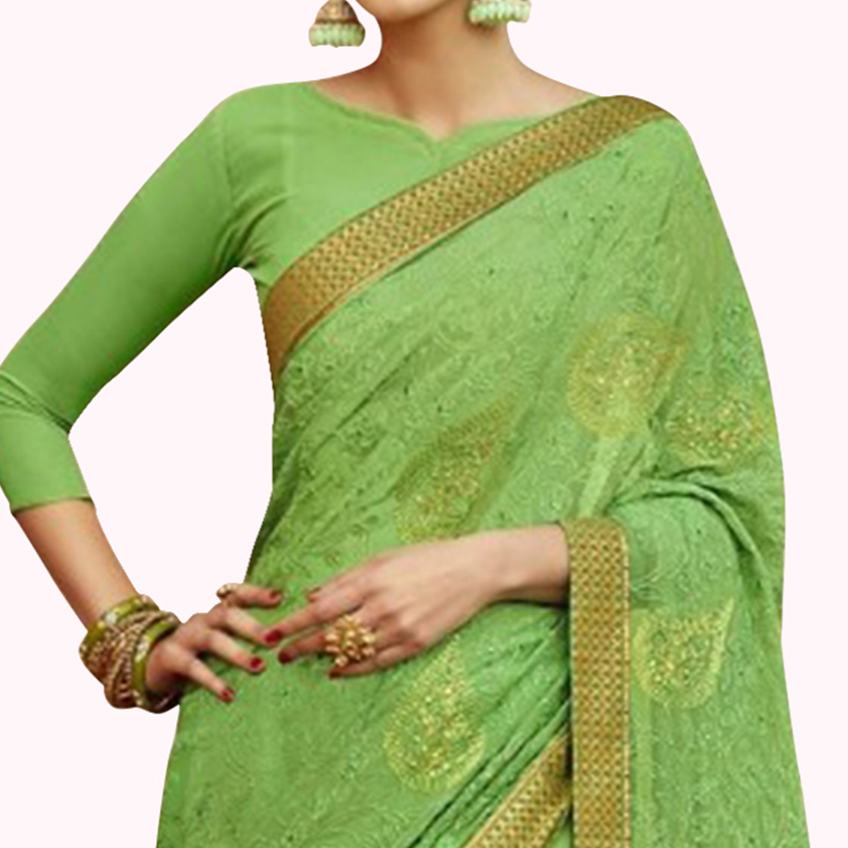 Captivating Bright Green Colored Party Wear Embroidered Georgette Saree