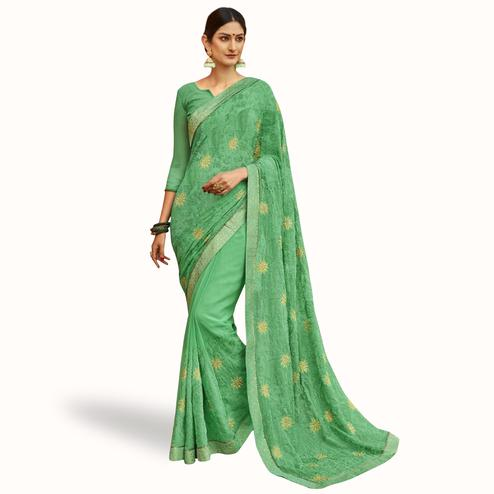 Eye-catching Green Colored Party Wear Embroidered Georgette Saree