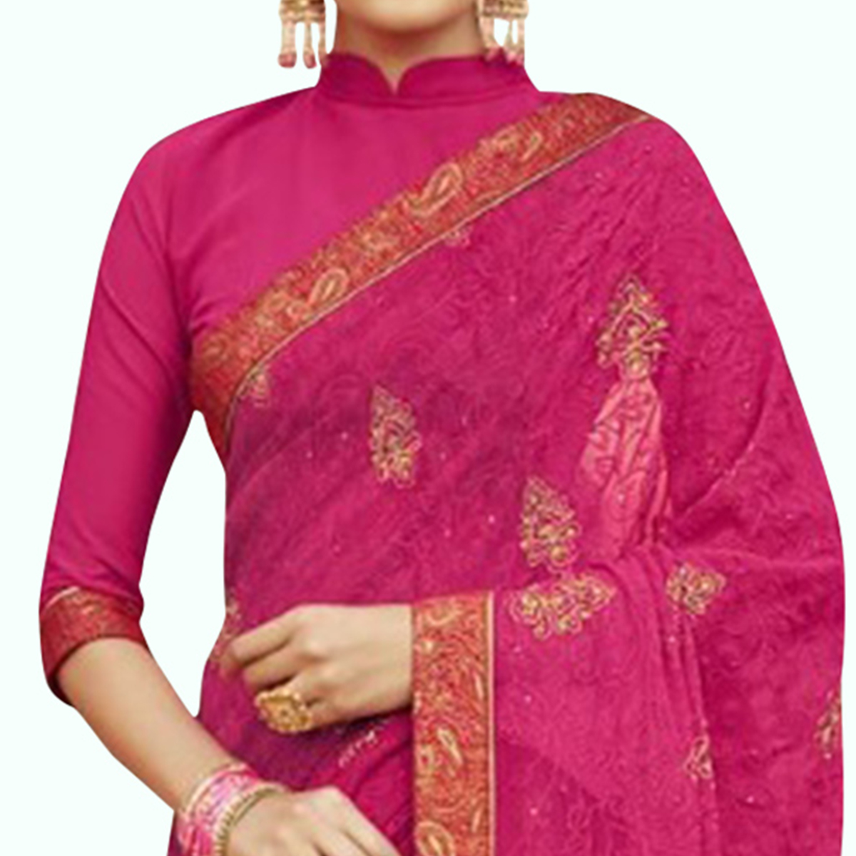 Fantastic Magenta Pink Colored Party Wear Embroidered Georgette Saree