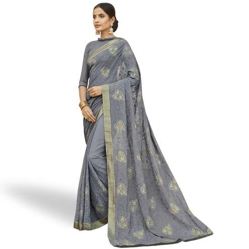 Blissful Gray Colored Party Wear Embroidered Georgette Saree