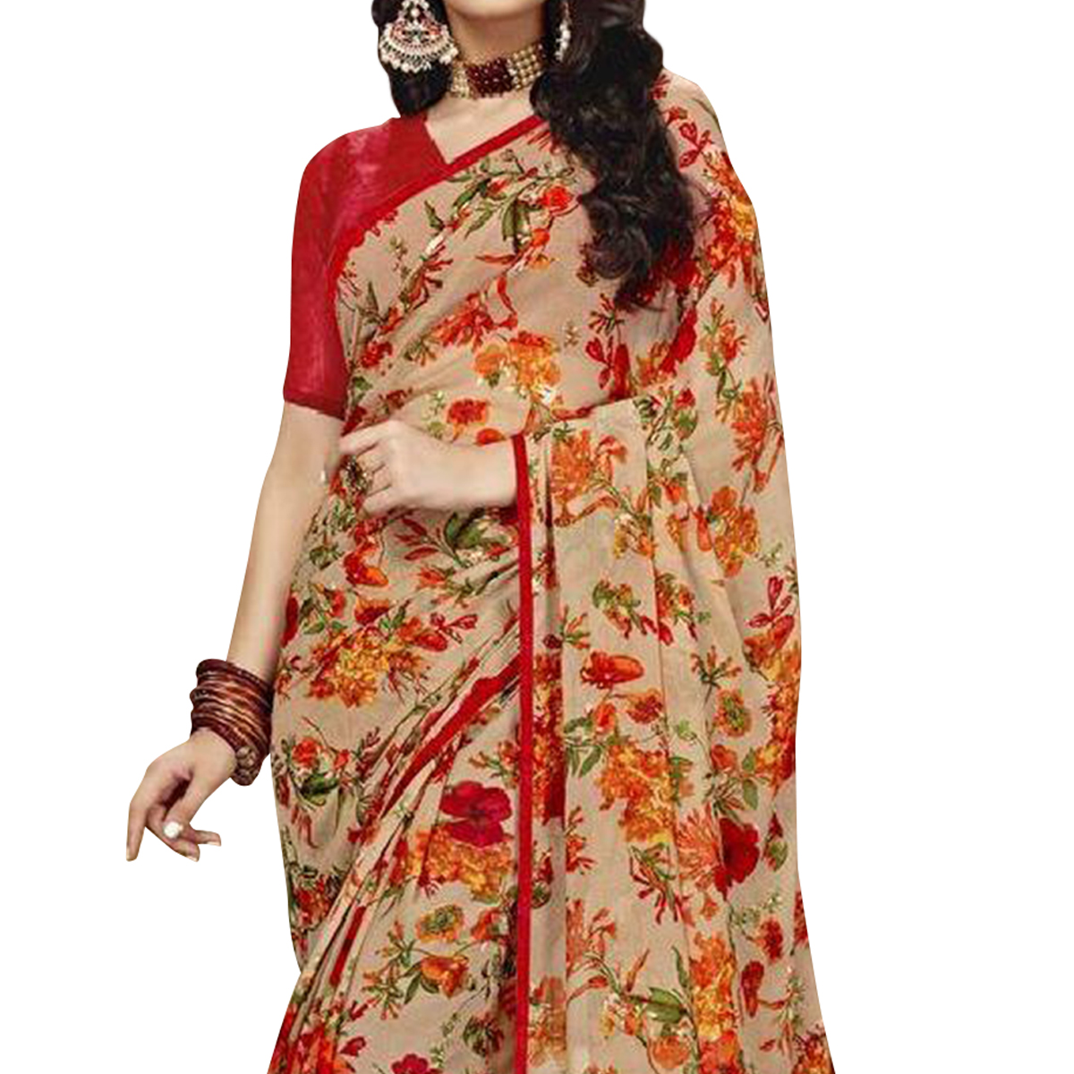 Blissful Beige Colored Casual Printed Chiffon Saree
