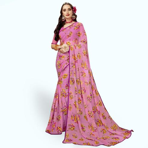 Lovely Pink Colored Casual Printed Chiffon Saree